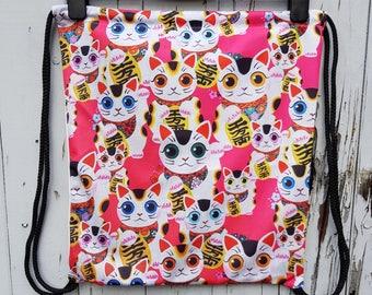 Pink Maneki Neko Lucky Cat Backpack - Bag Gym Handbag Japanese Kitten
