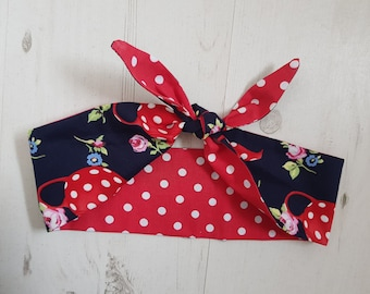 1950s Reversible Navy Blue Vintage Blue Teapot And Red Polka Dot Head Scarf - With or Without Wire