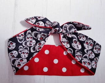 Vintage 50s Reversible Laughing Glitter Skulls And Red Polka Dot Head Scarf -  Hair Tie - 1950s