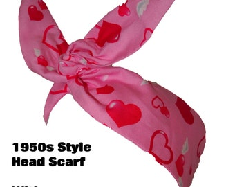 Vintage 50s Pink Hearts And Wings Head Scarf - Hair Tie - 1950s Bandanna Tattoo Angels Love Pin Up Steampunk EMO Rockabilly