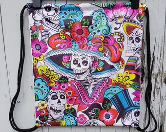 Mexican Skeleton Day of the Dead Backpack - Bag Gym Handbag Candy Skull
