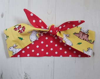 Reversible Yellow Rabbit And Red Polka Dot 1950s Style Head Scarf - Wired or Not