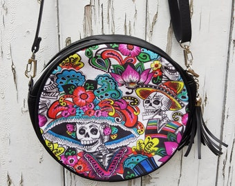Day of the Dead Skeleton Handbag - Dia De Los Muertos Candy Skull Halloween Black Bag Clutch