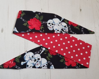 Vintage 50s Reversible Black Skull, Chain And Rose And Red Polka Dot Head Scarf - Hair Tie 1950s Bandana Tattoo Skulls Skeleton Steampunk