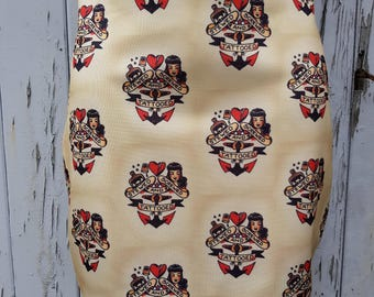 Vintage Stewed Screwed & Tattooed Mini Skirt - Size 8 10 12 14 16 - Sailor Tattoo