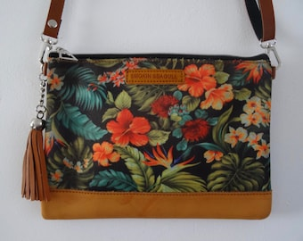Tropical Hibiscus Handbag - Bird of Paradise Flower Summer Jungle Holiday Brown Bag Clutch