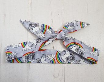 Grey Unicorn & Rainbow Baby Head Scarf