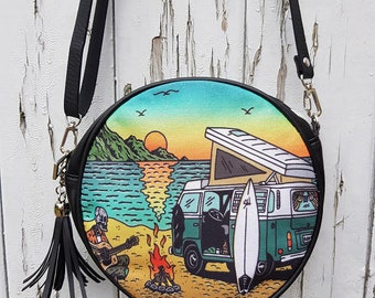 Motor Home Camping Skeleton Handbag - Horror Surf Sunset Beach Black Bag Clutch Vegan Leather