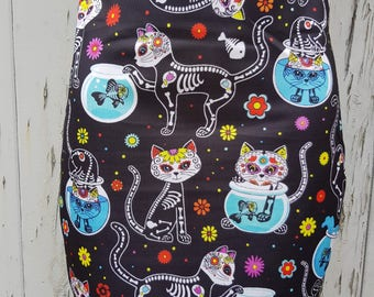 Day of the Dead Skeleton Cat Mini Skirt - Size 8 10 12 14 16 - Kitten Cute Candy Skull