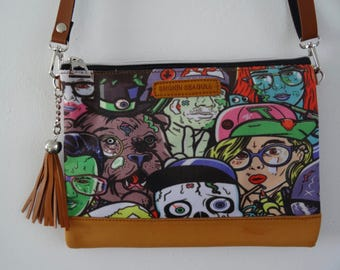 B-Movie Horror Black Handbag - Skull Zombie Monster Comic Book Bag Clutch Brown