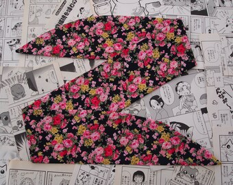 Black Floral Rockabilly Head Scarf With or Without Wire - 1950s Bandana Hair Tie Navy Pin Up Girl Vintage Flower Rose Pink