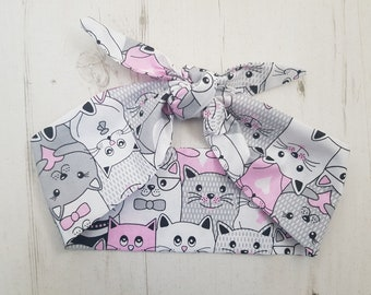 Pink & Grey Cats Head Scarf