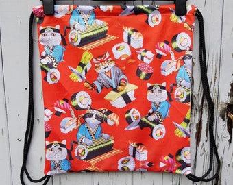 Red Sushi Cat Backpack - Bag Gym Handbag Japanese Kitten