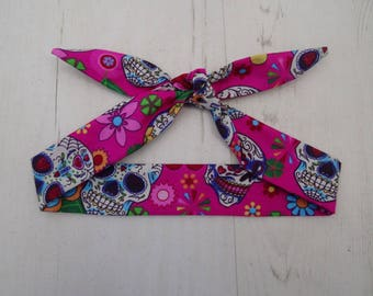 Baby or Toddler Head Scarf - Pink Mexican Candy Skulls - Day of the Dead