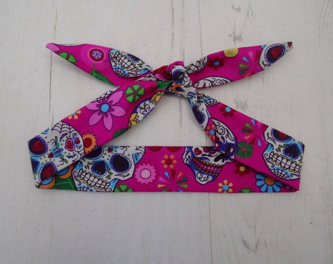 Baby Head Scarf - Pink Mexican Candy Skulls - Day of the Dead - Cotton Bib Baby Shower Bandana Bib Boy or Girl Gift