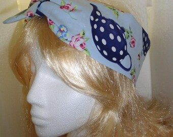 50s Vtg Blue Tea Pot Head Scarf With Wire or Not - Rockabilly Psychobilly Cute Kitchen Cooking Baking