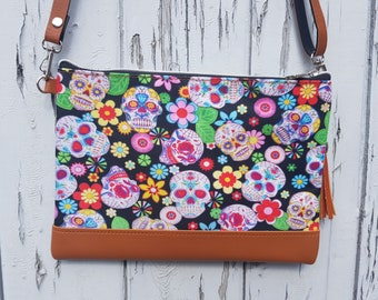 Candy Skull & Flower Handbag - Mexican Skeleton Sugar Day of the Dead Bag Brown