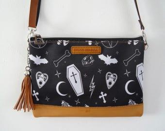 Gothic Alternative Black Handbag with Coffin, Skull and Bats