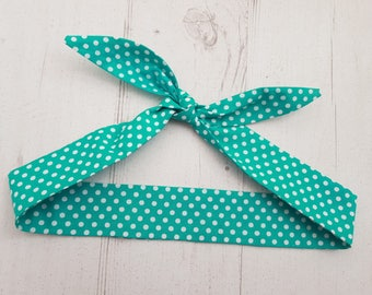 Baby or Toddler Head Scarf - Teal Green Polka Dot  - Cotton Bib Baby Shower Bandana Bib Boy or Girl
