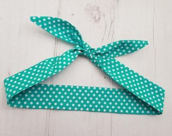Baby Head Scarf - Teal Green Polka Dot  - Cotton Bib Baby Shower Bandana Bib Boy or Girl