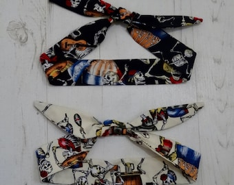 Baby or Toddler Rockabilly Head Scarf Set - Day of the Dead Skeletons