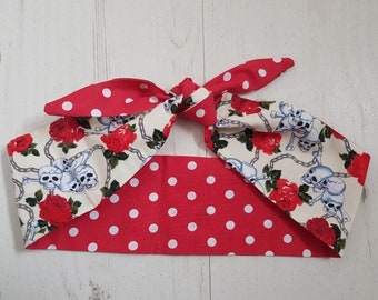 Vintage Reversible Mini Cream Skull & Rose WIth Red Polka Dot Head Scarf - Wired or Not