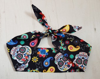 Cute Paisley Candy Skull Head Scarf - With or Without Wire
