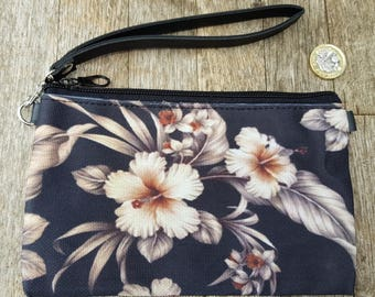 Taupe Hibiscus Tropical Purse - Surf Island Floral Holiday Clutch Bag