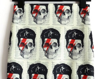 David Bowie Skull Skirt - Size 8 10 12 14 16 - Mini Bodycon Retro Bolt Horror Geek Chic Lightening Bolt
