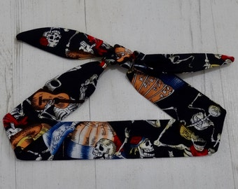 Baby or Toddler Head Scarf - Black Mexican Skeleton