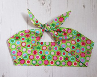 Green & Red Polka Dot Head Scarf - Pin Up Hairband Hair Wrap Retro 1960s 1950s - With or Without Wire