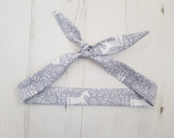 Grey Scandi Floral Unicorn Head Scarf