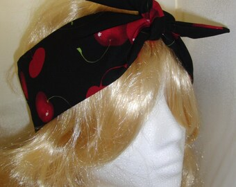 1950s Vintage Black Cherry Head Scarf - Burlesque Rockabilly Hair Tie Cherries