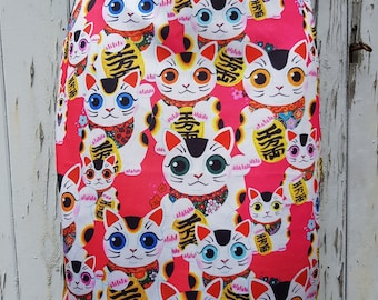 Pink Maneki Neko Lucky Cat Pencil Skirt - Size 8 10 12 14 - Bodycon Wiggle Japanese