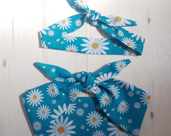 Matching Mum & Baby/Toddler Rockabilly Head Scarf - Turquoise Daisy