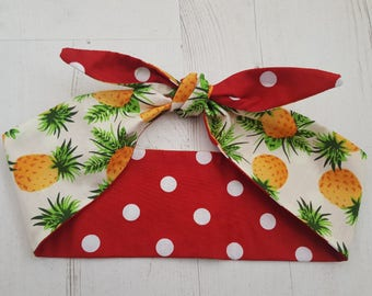 50s Reversible Tropical Hawaiian Pineapple And Red Polka Dot Head Scarf - Wired or Not
