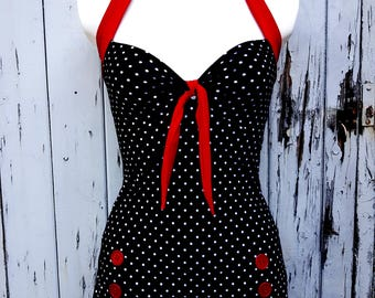 1950s Pin Up Girl Black And White Polka Dot Swimming Costume 10 12 14 16 18 - Buttons Retro Vtg Swimsuit Rockabilly Polka Dot