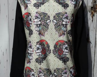 Gypsy Skull Sweater - Size 10 12 14 16 - Jumper Top Long Sleeve  Alternative Tattoo Candy Skeleton Sugar Day Of The Dead Día de los Muertos