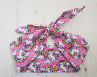 Pink Unicorn and Rainbow Head Scarf