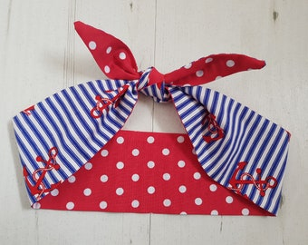 Reversible Navy Anchor Stripe And Red Polka Dot Head Scarf With Wire or Not - Rockabilly Blue White & Red