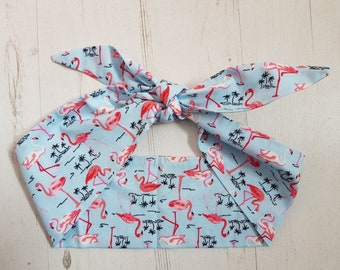 Pale Blue Tropical Flamingo Head Scarf - With or Without Wire