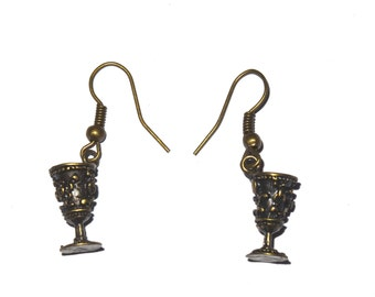 Vintage Bronze Goblet Earrings - Game of Thrones Medieval Wine Glass