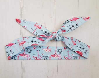 Pale Blue Tropical Flamingo Baby Head Scarf