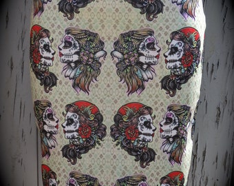 Gypsy Skull Pencil Skirt - Size 8 10 12 14 - Bodycon Retro Wiggle Tattoo Candy Skeleton