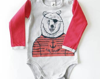 Red Pirate Bear Long Sleeve Baby Grow - Unisex Alternative Anchor Rockabilly Bodysuit 0-3, 3-6, 6-12 month