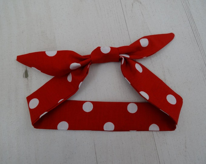 Baby Head Scarf - Red Polka Dot - Cotton Bib Baby Shower Bandana Bib Boy or Girl Gift Rockabilly Tattoo