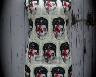 Bowie Skull Dress - Size 8 10 12 - Bodycon Wiggle Lightning Bolt David Alternative