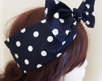 50s Vtg Blue Polka Dot Bow Head Scarf - Rockabilly Psychobilly Pin Up Girl Cute Steampunk Vintage Classic Dancing