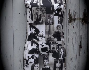Black & White Hollywood Glamour Dress - Size 8 10 12 - Digital Print Bodycon Wiggle Vintage Retro Audrey Hepburn Pin Up 1950 Chic Rockabilly