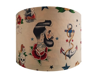 Handmade Vintage Sailor Tattoo Lampshade